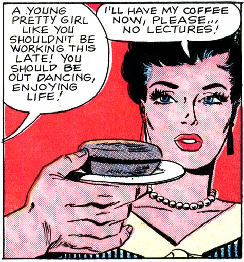 """Art by Charles Nicholas & Vince Alascia from the story """"Coffee and...a Kiss, Darling!"""" in FIRST KISS #8, 1959."""