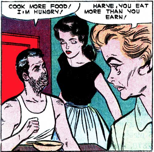 "Art by Vince Colletta Studio from the story ""Man Hater"" in FIRST KISS #18, 1961."
