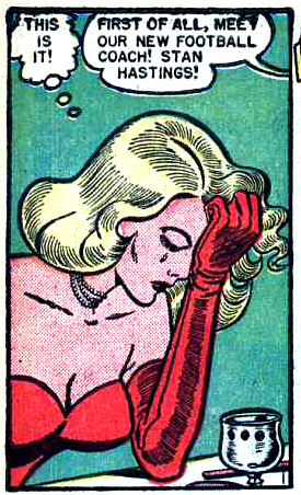 "Art by Bill Ward in ""Rapture at Homecoming Time"" from DIARY LOVES #8, 1951."