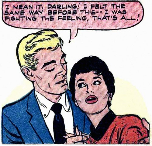 "Art by John Tartaglione from the story ""Dear Jilted"" in BRIDES IN LOVE #8, 1958."