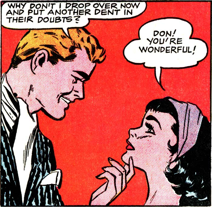 "Art by Vince Colletta Studio from ""The Gay Deception"" in FIRST KISS #8, 1959."