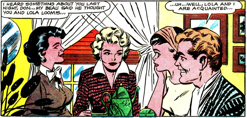 "Art by Vince Colletta Studio from the story ""The Gay Deception"" in FIRST KISS #8, 1959. Click image to enlarge."