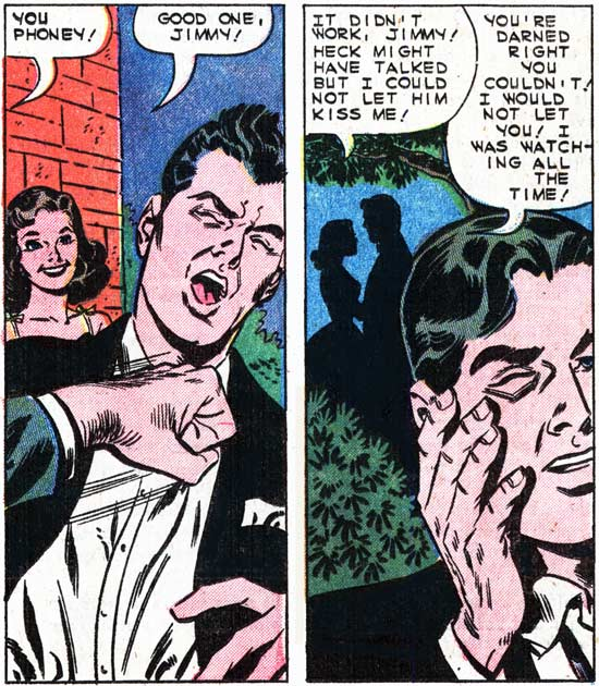 "Art by Charles Nicholas & Sal Trapani from the story ""The Betraying Kiss"" in FIRST KISS #13, 1960."