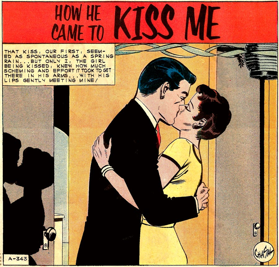 "Art by Chasal (Charles Nicholas & Sal Trapani) in the story ""How He Came to Kiss Me"" from FIRST KISS #21, 1961."