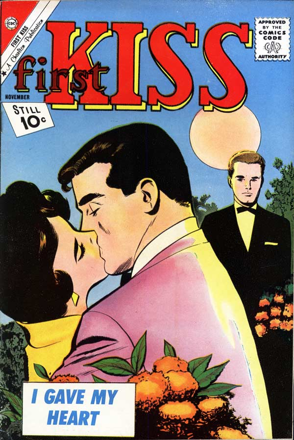 Art by the Vince Colletta Studio from the cover of FIRST KISS #23, 1961.