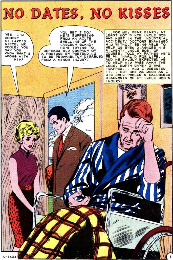 "Art by Vince Colletta Studio in the story ""No Dates, No Kisses"" in FIRST KISS #27, 1962."