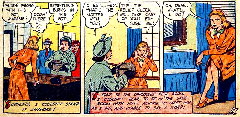 "Artist unknown. From the story ""The Trouble with Love"" from THRILLING ROMANCES #20, 1952."