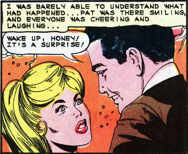 "Art by the Vince Colletta Studio from the story ""Surprise Party"" in FIRST KISS #40, 1965."