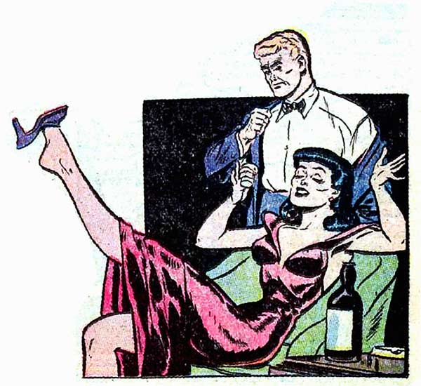 "Art by Jack Sparling from the story ""Bottled Heartache"" in GREAT LOVER ROMANCES #11, 1953."
