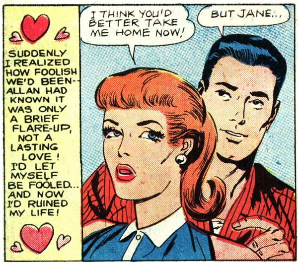 "Art by Charles Nicholas & Dick Giordano from the story ""Sweethearts"" from FIRST KISS #7, 1959."
