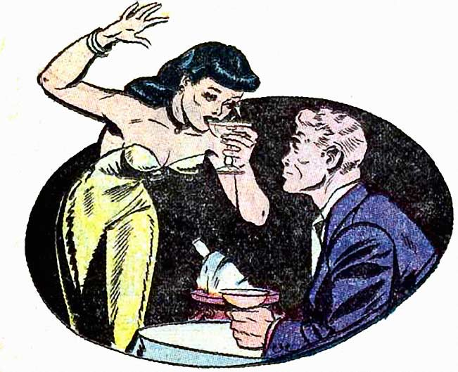 "Artist unconfirmed, but it may be Jack Sparling. From the story ""Bottled Heartache"" in Great Lover Romances #11, 1953."