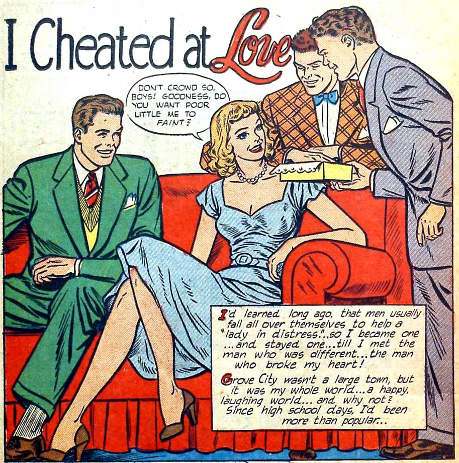 "Artist unknown. From the story ""I Cheated at Love"" from THRILLING ROMANCES #20, 1952."