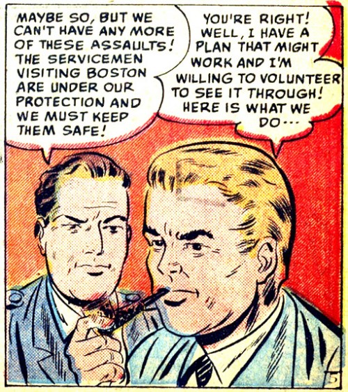"""Artist unknown. From the story """"The Queen of the Killers"""" in CRIMES BY WOMEN #14, 1950."""