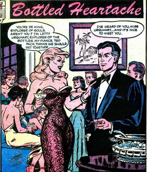 "Art (probably) by Jack Sparling from the story ""Bottled Heartache"" in GREAT LOVER ROMANCES #11, 1953."
