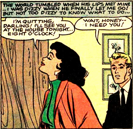 """Original art by Vince Colletta Studio from the story """"His Future Bride"""" in BRIDES IN LOVE #10, 1958."""