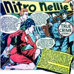 """Art by Jimmy Maxwell from the story """"Nitro Nellie: The Savage Safe Smashers"""" in CRIMES BY WOMEN #4, 1948."""