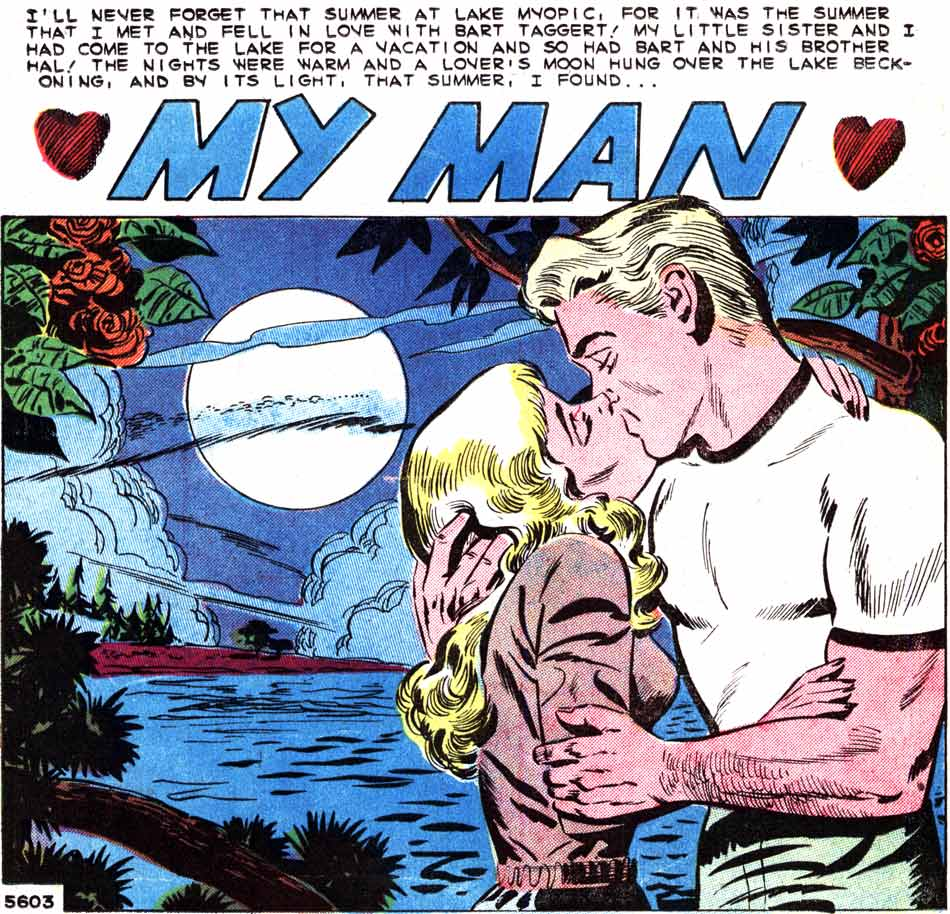 """Art by Art Cappello & Vince Alascia from the story """"A Kiss in the Dark"""" in FIRST KISS #11, 1959."""