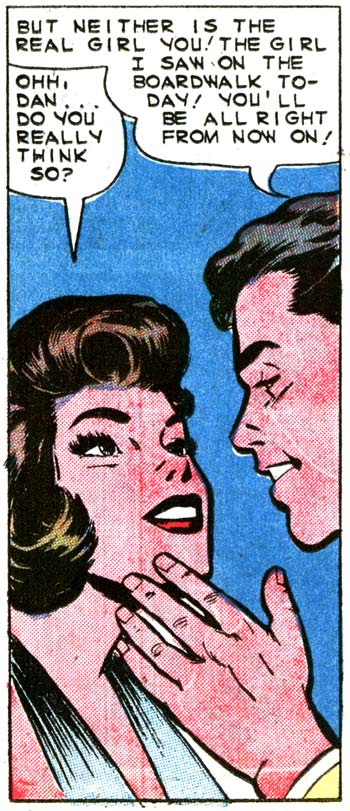 """Inks by Dick Giordano from the story """"Hello Beautiful"""" in FIRST KISS #12, 1960."""