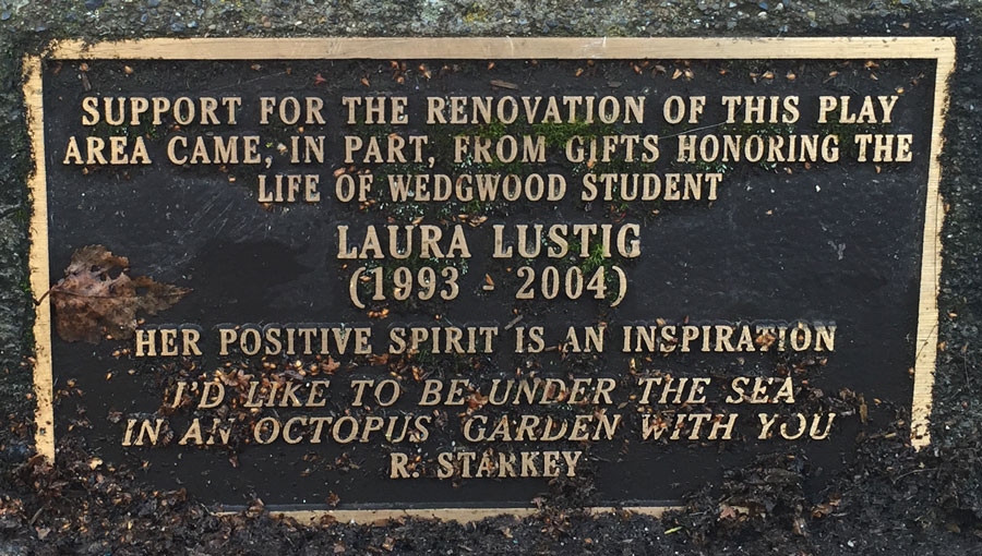 Plaque in front of play area at Wedgwood Elementary in Seattle.