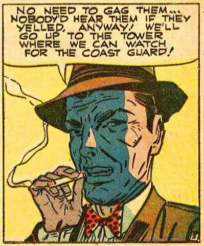 """Art by Mort Meskin & Jerry Robinson from the story """"Larceny in the Lighthouse"""" in THE BLACK TERROR #24, 1948."""