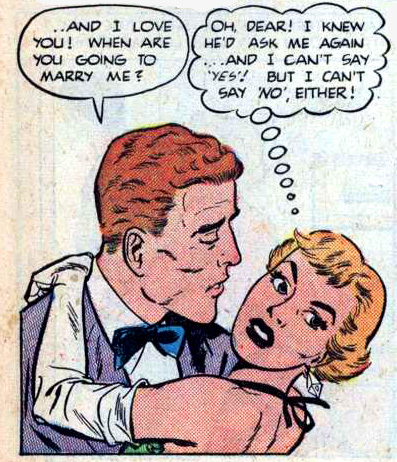 "Art by Art Saaf from the story ""My Kind of Love"" in BEST ROMANCE #5, 1952."