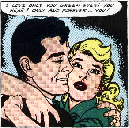 """Art by John Tartaglione from the story """"The Sea Green Eyes!"""" in FIRST KISS #5, 1958."""