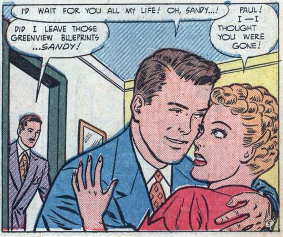 """Art by Nina Albright from the story """"The Man I'll Marry"""" from BEST ROMANCE #6, 19552."""