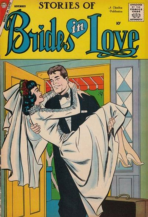 Unsigned, but probably by Charles Nicholas & Vince Colletta. From the cover of BRIDES IN LOVE #10, 1958.