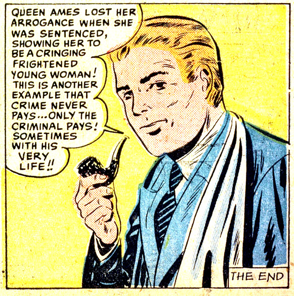 "Artist unknown. From the story ""Queen of the Killers"" in CRIMES BY WOMEN #14, 1950."