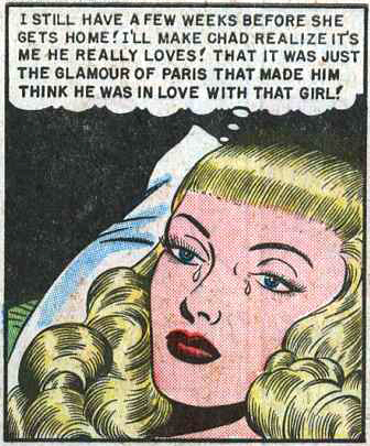 "Artist unknown. From ""My Kisses Were Cheap"" in DIARY LOVES #5, 1950."