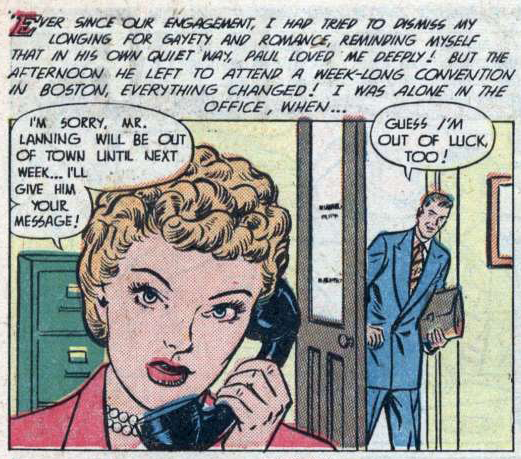 "Art by Nina Albright from the story ""The Man I'll Marry"" in AMERICA'S BEST COMICS #6, 1949."