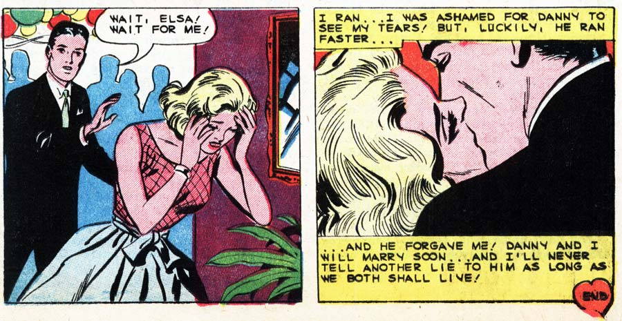"""Art by Charles Nicholas & Vince Alascia from the story """"Don't Lie to a Loved One"""" in FIRST KISS #11, 1959."""