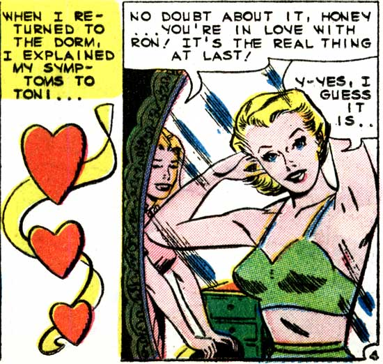 "Original art inked by Dick Giordano from the story ""Heartbreaker"" from FIRST KISS #12, 1960."