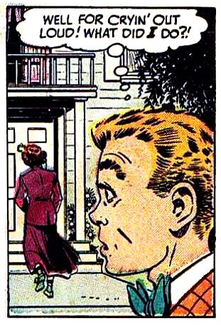 "Art by Bob Powell in the story ""I Was the Loneliest Girl In School"" from HI-SCHOOL ROMANCE #3, 1950"