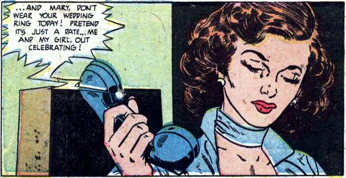 """Art by Alex Toth & Mike Peppe from the story """"Be Mine Alone"""" in NEW ROMANCES #10, 1952."""