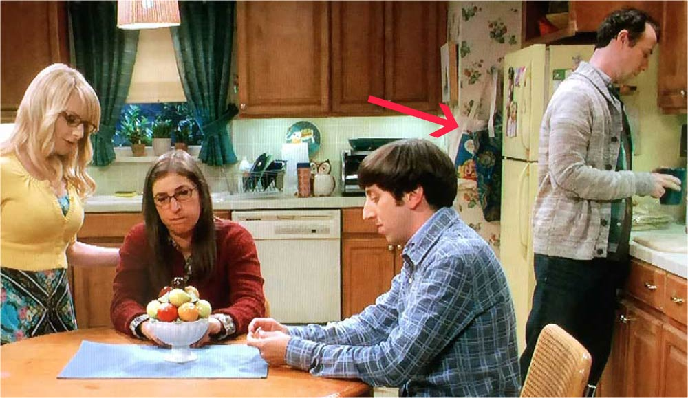 Yes, that's a Last Kiss tote bag by the fridge in this scene of The Big Bang Theory.