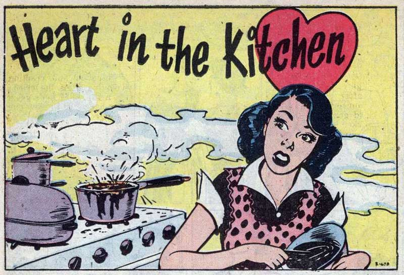 "Original art by Nick Cardy from the story ""Heart in the Kitchen"" in BEST ROMANCE #7, 1952."