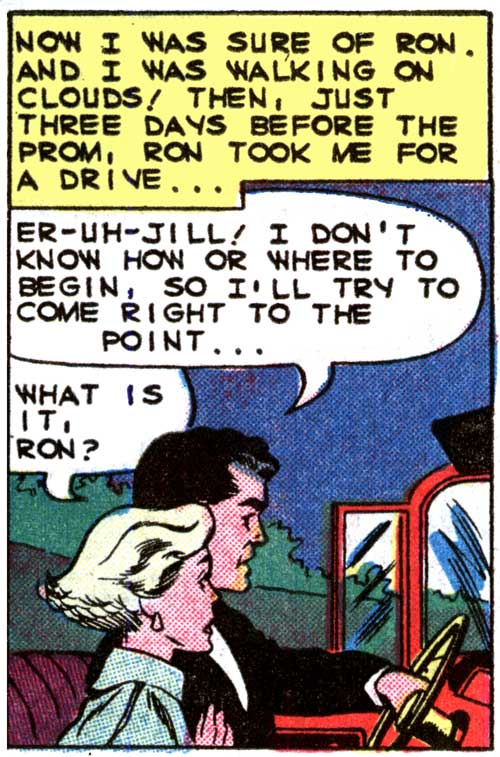 """Inks by Dick Giordano from the story """"Heartbreaker"""" in FIRST KISS #12, 1960."""