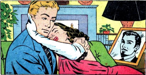 """Artist unknown. From the story """"A Woman of Mystery"""" in NEW ROMANCES #10, 1952."""