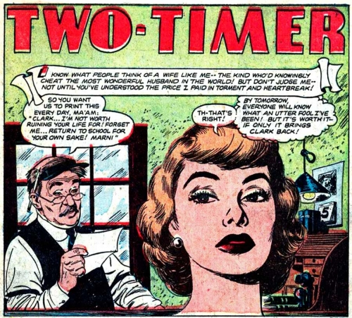 """Art by Nick Cardy from the story """"Two-Timer"""" in NEW ROMANCES #13, 1952. (Click image to enlarge.)"""