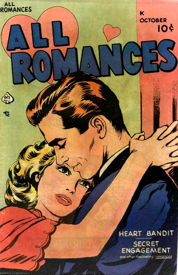 Artist may be Alice Kirkpatrick. Cover of All Romances #2, 1949.