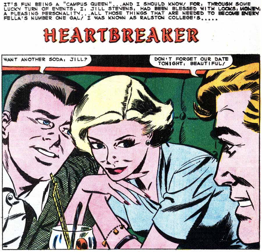 "Inks by Dick Giordano from the story ""Heartbreaker"" in FIRST KISS #12, 1960."
