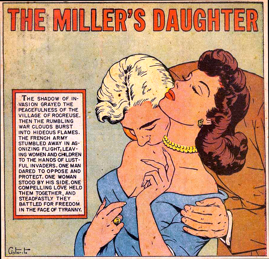 """Art by Rafael Astarita in the story """"The Miller's Story"""" For A Night of Love #1, 1951."""