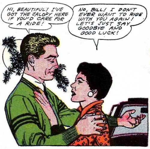 "Art by John Tartaglione. from the story ""To Stella with Love"" in FIRST KISS #3, 1958."