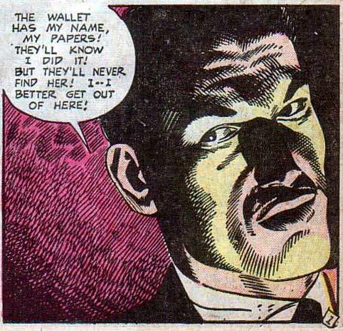 Art by John Celardo from ADVENTURES INTO DARKNESS #11, 1953.
