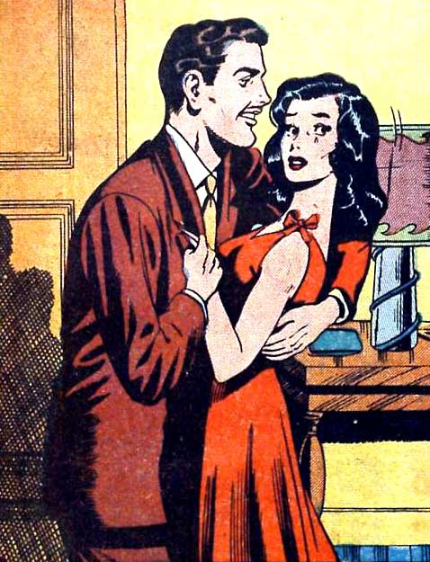 """Artist Unknown. From the story """"Green Eyes"""" in BRIDE'S SECRETS #7, (Ajax-Farrell) 1955."""