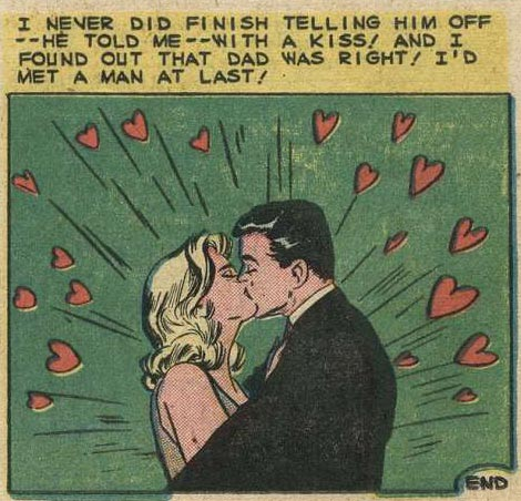 """Art by Vince Colletta from the story """"Rich Girl, Poor Guy"""" in BRIDES IN LOVE #14, 1959."""