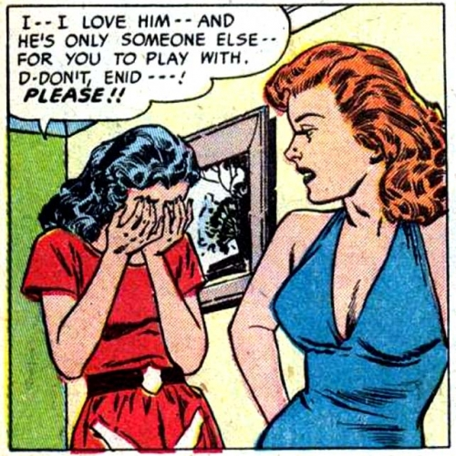 """1951 art by Reed Crandall from the story """"Bitter Love"""" in CINDERELLA LOVE #2 (Ziff-Davis.)"""