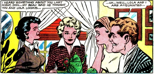 "Art by the Vince Colletta Studio from the story ""The Gay Deception"" in FIRST KISS #8, 1959."