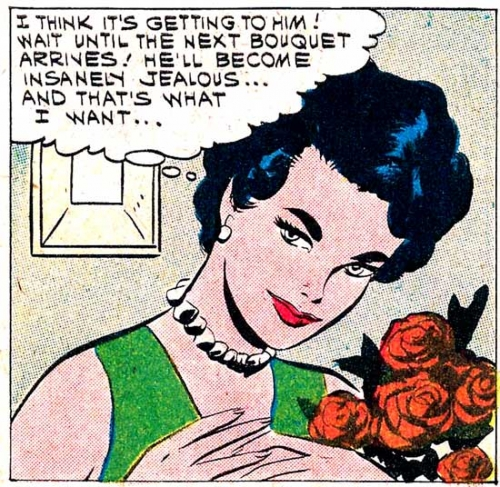 "1961 art by Vince Colletta Studio from the story ""A Bouquet of Roses"" in FIRST KISS #20."